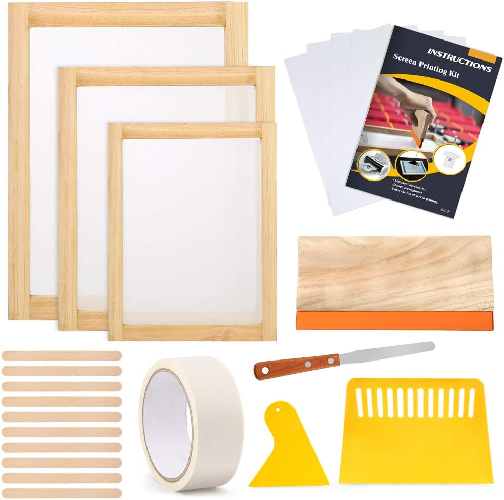 Caydo 23 Pieces Screen Printing Starter kit Include 3 Different Size of Wood Silk Screen Printing Frame with Mesh, Screen Printing Squeegees, Inkjet Transparency Film, Ink Knife, and Mask Tape