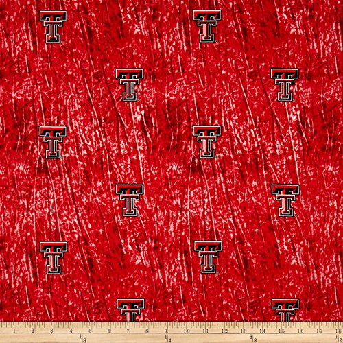 Collegiate Cotton Broadcloth Texas Tech University Tie Dye Print Red Fabric By The Yard ()