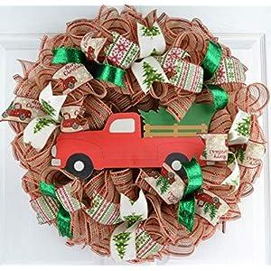 Christmas Tree Farm Truck Wreath | Rustic Christmas Wreath | Front Door Wreath | Red Jute Green 5