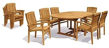 Teca jardín comedor con prorroga mesa ovalada y 6 sillas apilables ...