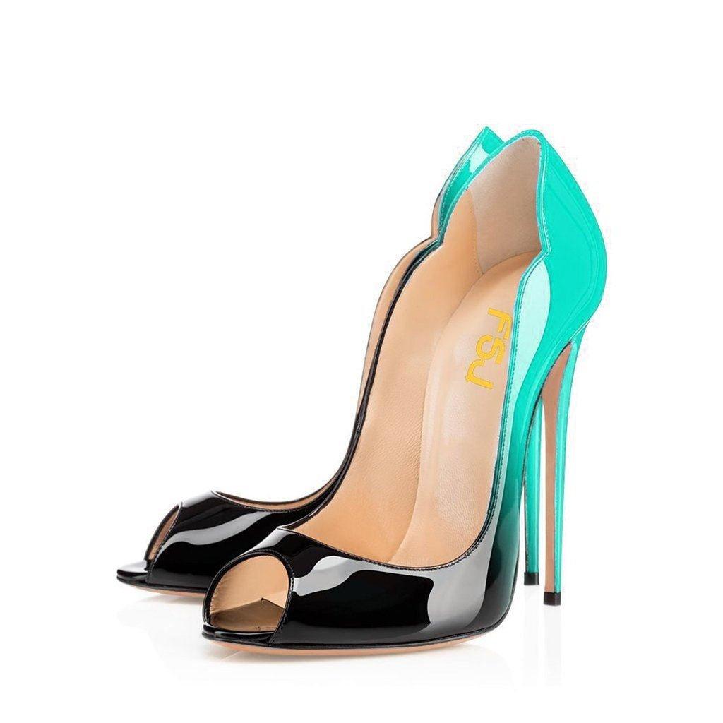 FSJ Women Slide Peep Toe High Heels Pumps Sexy Stilettos Patent Leather Shoes for Party Size 4-15 US B071QY6R8C 15 B(M) US|Cyan-black