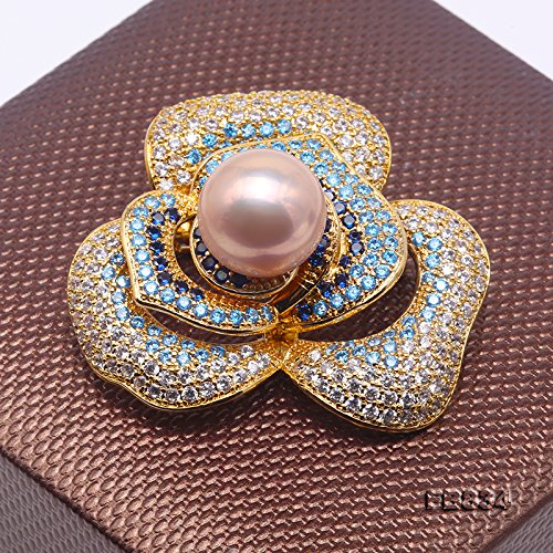 JYX Pearl Bouquet Brooch 12mm Round Pink Freshwater Pearl Brooch Pin