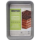 casaWare Ceramic Coated NonStick 9 X 13 x 2-Inch Rectangular Cake Pan (Silver Granite)