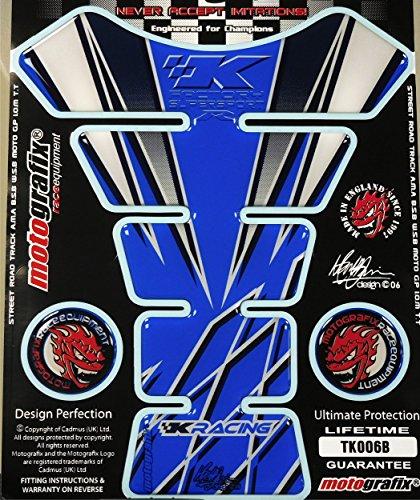 (Kawasaki NInja ZX12 ZX10 ZX9 ZX6 600 650 Blue White Motorcycle Tank Pad)