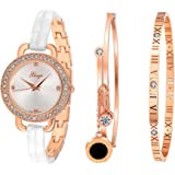 Xinge Women's Crystals Bangle and Bracelet Watch Sets Rose Gold Tone D3866L-W