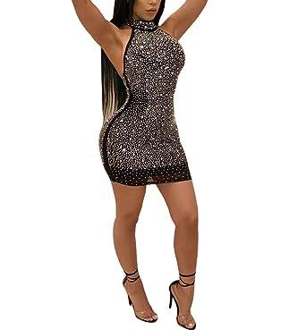 edb3b65e Nhicdns Women Sexy Bodycon Sleeveless Diamonds Mesh Halter Beaded  Rhinestones Backless Clubwear Party Mini Dress