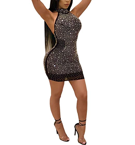 Nhicdns Womens Sexy Two Pieces Bodycon Outfit Embellished Rhinestone