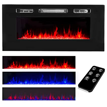 Amazon Com Xtremepowerus Recessed Electric Fireplace In Wall Wall