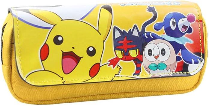 Estuche para lápices de Pokemon, para niños, adolescentes, niñas, Pikachu Pokeball con dibujos animados 3D impresos,