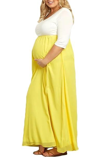 Yacun Las Mujeres De Maternidad Manga Media Casual Plus Tamaño Vestido Largo: Amazon.es: Ropa y accesorios
