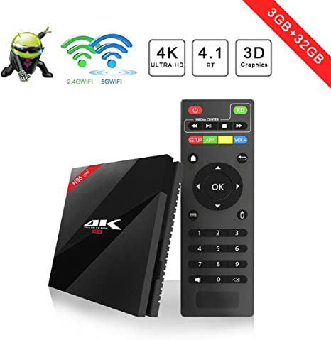 Aoxun - Smart TV Box H96 [2018] con tecnología Android 7.1, Amlogic S912W Octa-Core, 3 GB