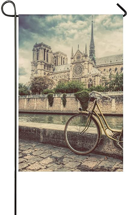 Qqshiqi Fashion Custom Garden Flag Bike Next To Notre Dame Cathedral In Paris Garden Flag 12 5 X 18 In Without Flagpole Outdoor Celebrating Holidays Decor Garden Outdoor