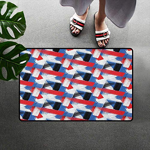 (alilihome Doormat Decorative Floor Mat W31 x L47 INCH Abstract,Geometric Grunge Bold Stripes with Artistic Brushstrokes Motif, Violet Blue White Red Black)