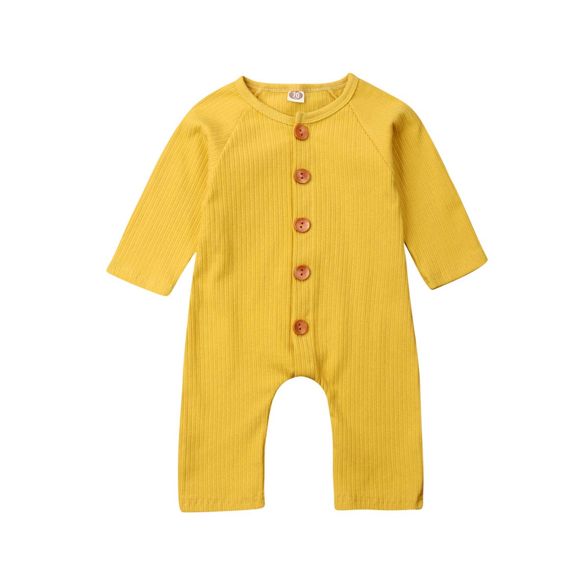 xueliangdedianpu Unisex Baby Summer Romper Sleeveless Button One-Piece Solid Color Jumpsuit Bodysuit for Infant Toddlers