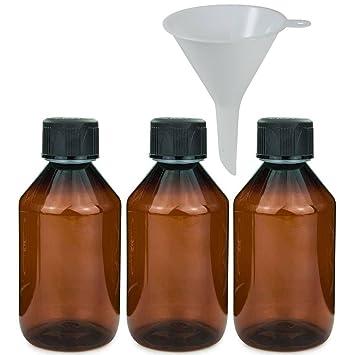 Viva-Haushaltswaren – 3 x Marrón Laboratorio Botella 250 Ml Botella de plástico (Pet