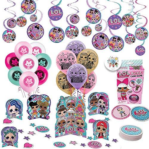 LOL Surprise Party Decorations Game Pack con globos, Kit de decoración de mesa, Swirl Decoration, LOL Card Game,