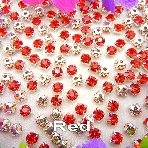 Pukido Colorful Glass Crystal Silver Claw Setting 3mm 4mm 5mm 6mm 7mm 8mm Nice Colors Sew on Rhinestone Beads Bags Wedding Dress DIY - (Color: A23 Red, Size: SS12 3mm 200pcs)