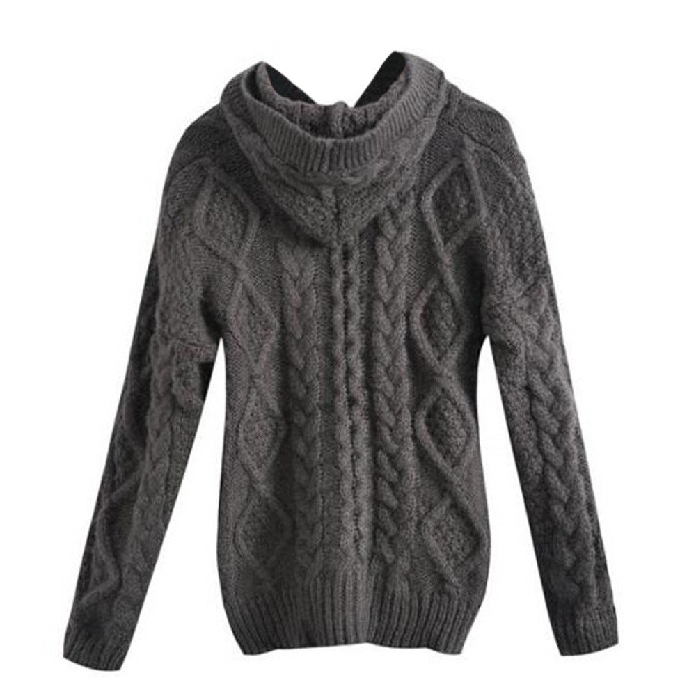 Hooded Knitted Sweatshirt Women, Bovake Ladies Fashion Long Sleeve Cardigan Sweater Coat Plus Size Bovake Ladies Fashion Long Sleeve Cardigan Sweater Coat Plus Size (Size:Free Gray)