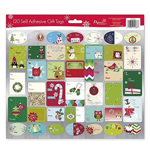 Pack of 120 Self Adhesive Cristmas Gift Tags Labels 3 Sheets with 40 Different Designs Xmas Gift Labels Best For Gifts Presents, Wrapping Paper and Gift Bags (Holiday - Christmas Paper Wrapping