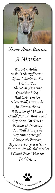 Perro Galgo 'Love You Mum' Marcador, Marcador, Mum' regalo de Navidad relleno marca de libro de f6273a