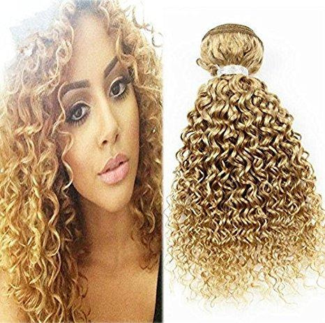 Wisforyou@Hair Brazilian Virgin Hair Curly Wave Weft 1 Bundle 50g 100% Unprocessed Human Hair Weave Extensions Color #27 27 Colour