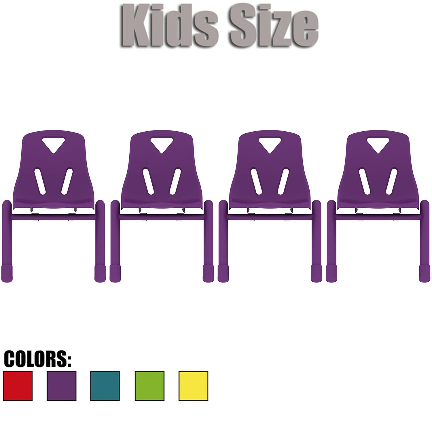 2xhome - Set of Four (4) - Purple - Kids Size Plastic Side Chair 12'' Seat Height Purple Childs Chair Childrens Room School Chairs No Arm Arms Armless Molded Plastic Seat Coated Metal Legs Stackable