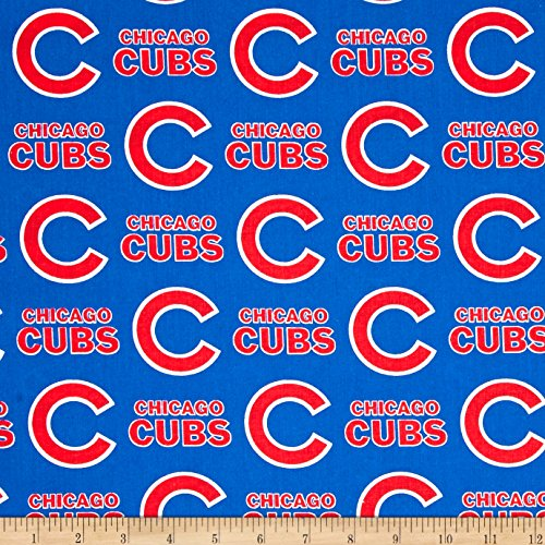 Chicago Yard Cubs - Fabric Traditions MLB Cotton Broadcloth Chicago Cubs Blue/Red Fabric by The Yard,