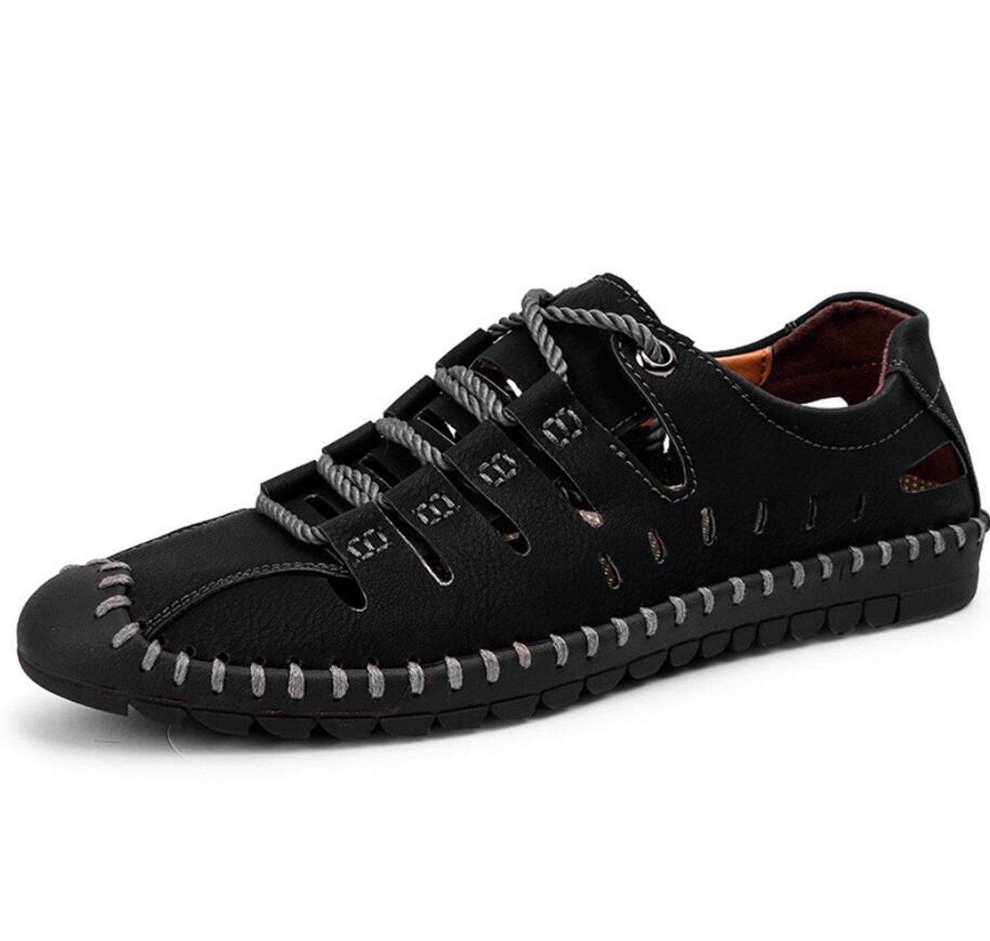DANDANJIE Sandalias de los zapatos del agujero de los hombres Sandalias de la comodidad del verano Soles ligeros al aire libre para el negro ocasional marrón (Color : Negro, tamaño : 43) 43 Negro