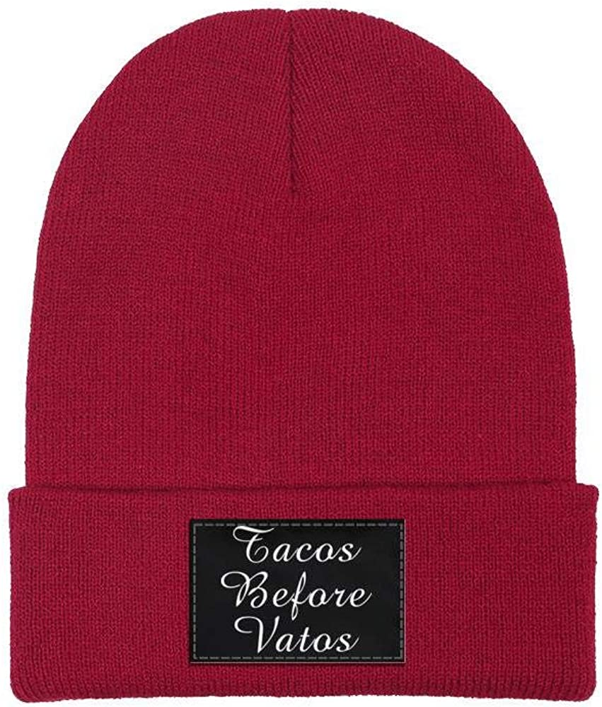 ZYNEW Tacos Before Vatos Mens Womens Beanie Hat Warm Woolen Sport Skull Cap One Size