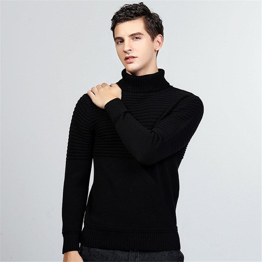 Jdfosvm männer - Pullover für männer Mode Jungen englischen Polo Hals Pullover Pullover,schwarz,XXL