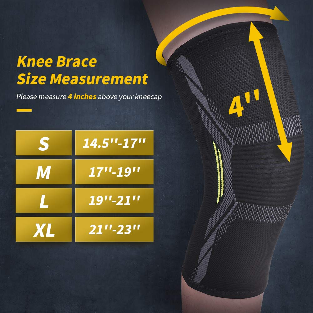 XL Knee Support Knee Brace Knee Compression Sleeve 2 Pack of 3D Knitting Elastic Flexible Breathable Anti-Slip Injury Prevention Pain Relief for Men Women MUBYTREE