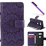 COTDINFOR Sony Xperia XZ2 Compact Protection Case For Girl Elegant Retro Flip Case Wallet PU Premium Leather Magnetic Slim Stand Covers Card Holder for Sony Xperia XZ2 Compact Purple Sunflower KT.