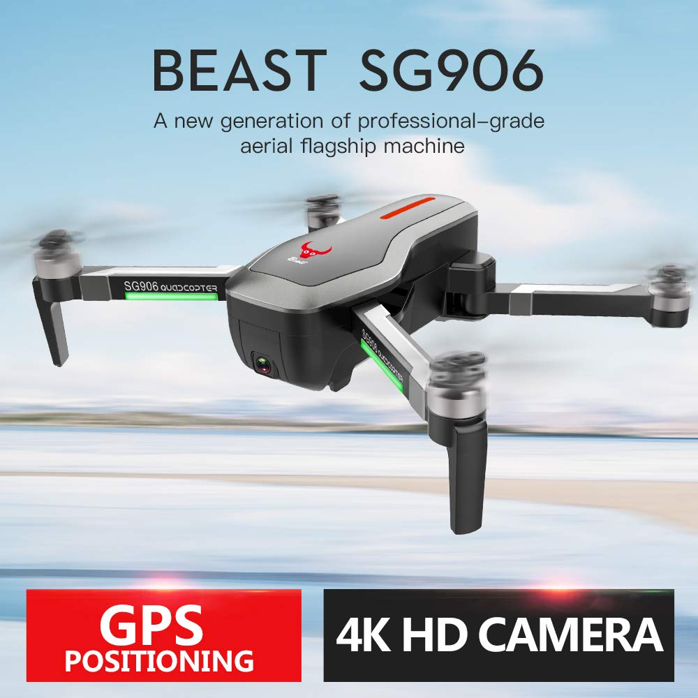 ACHICOO ZLRC Beast SG906 GPS 5G WiFi FPV con 4K Ultra Clear Camera Brushless Selfie Pieghevole RC Drone Quadcopter RTF Batteria Nera 3