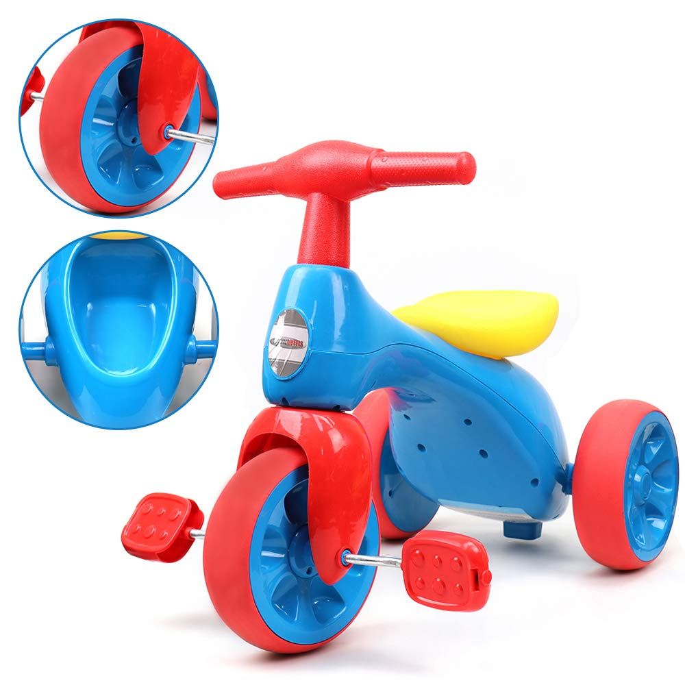 ChromeWheels Baby Balance Bike, Toddlers' Tricycle Walker with BB Sound for 18-36 Months, Blue