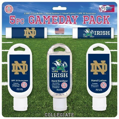 Worthy Promo NCAA Notre Dame Fighting Irish 5-Piece Game Day Pack with 2 Lip Balms, 1 Hand Lotion, 1 Hand Sanitizer, 1 SPF 30 Sport Sunscreen - Gym Bag Notre Dame