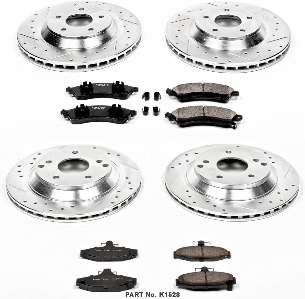 Power Stop K1528 Front /& Rear Brake Kit with Drilled//Slotted Brake Rotors and Z23 Evolution Ceramic Brake Pads
