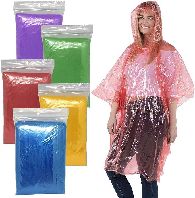 10X Regen Poncho Regenmantel Notfall Regenjacke Einweg Cape mit Kapuze Wand BH