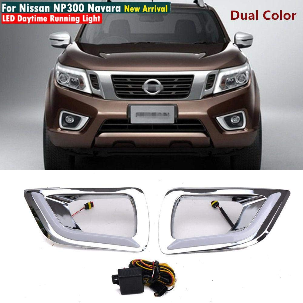 MOTORFANSCLUB Nissan Navara NP300 2015-16 Fog Lights Kit, LED Daytime Running Light Driving Spot DRL Lamp with White Turn Signal