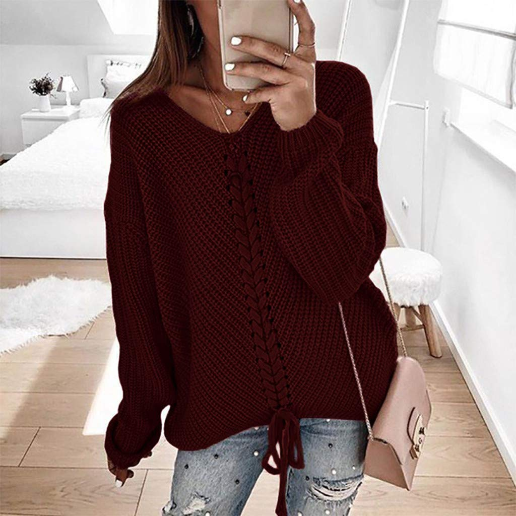 Trendy Casual Solid Loose Tops Slim Fit Long Sleeve Pullover for Girls HHoo88 for Womens V-Neck Sweater