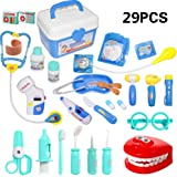 HOWADE 29 Pieces Doctor Kit,Medical Pretend Play Doctor Toy Set in Storage Box- Battery Operated Tools with Lights & Sounds -Promote Learning Motor Skills