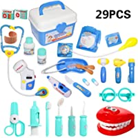HOWADE 29 Pieces Doctor Kit,Medical Pretend Play Doctor Toy Set in Storage Box- Battery Operated Tools with Lights…