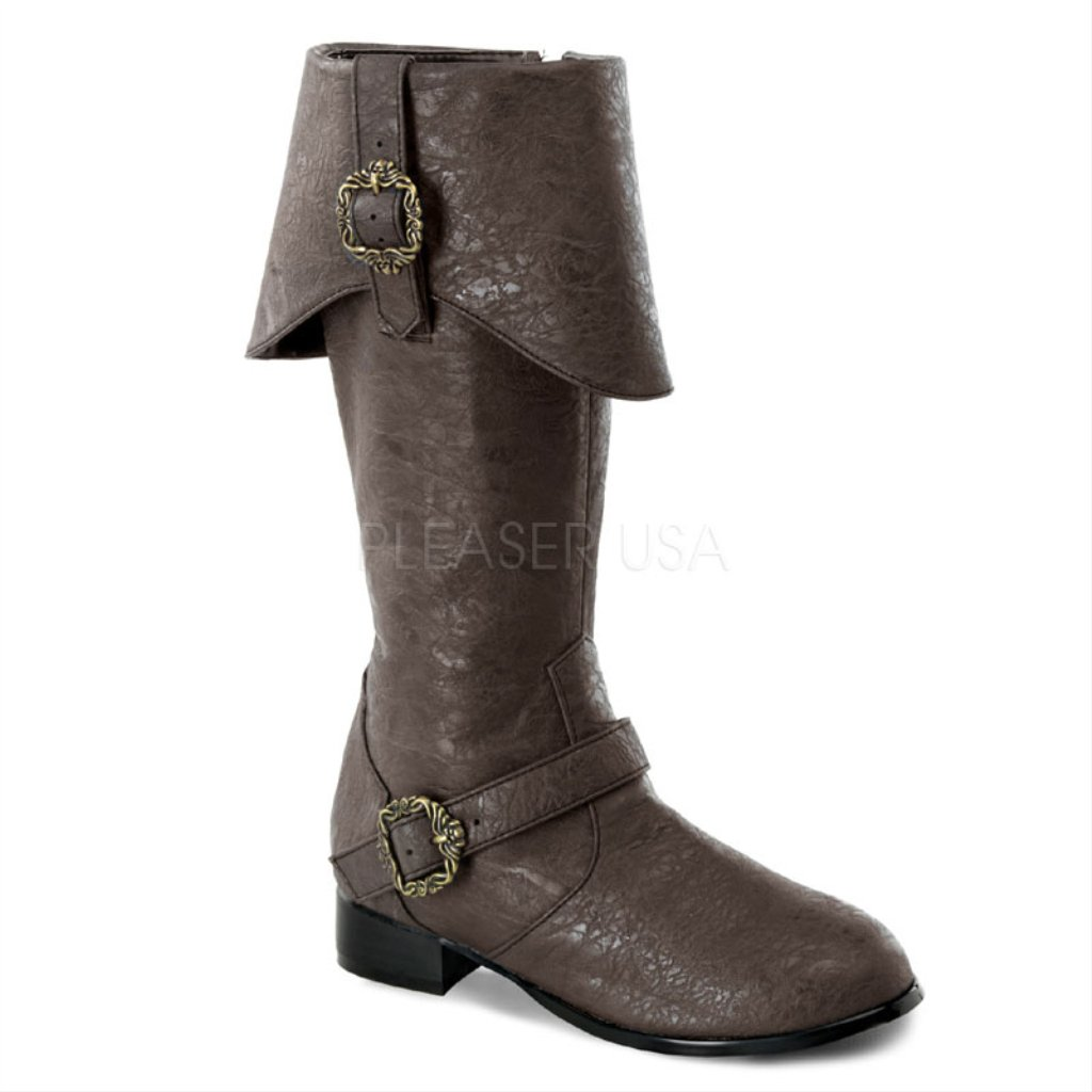 Children's Funtasma 1 Inch Heel, Pirate Brown Distressed Knee Boots