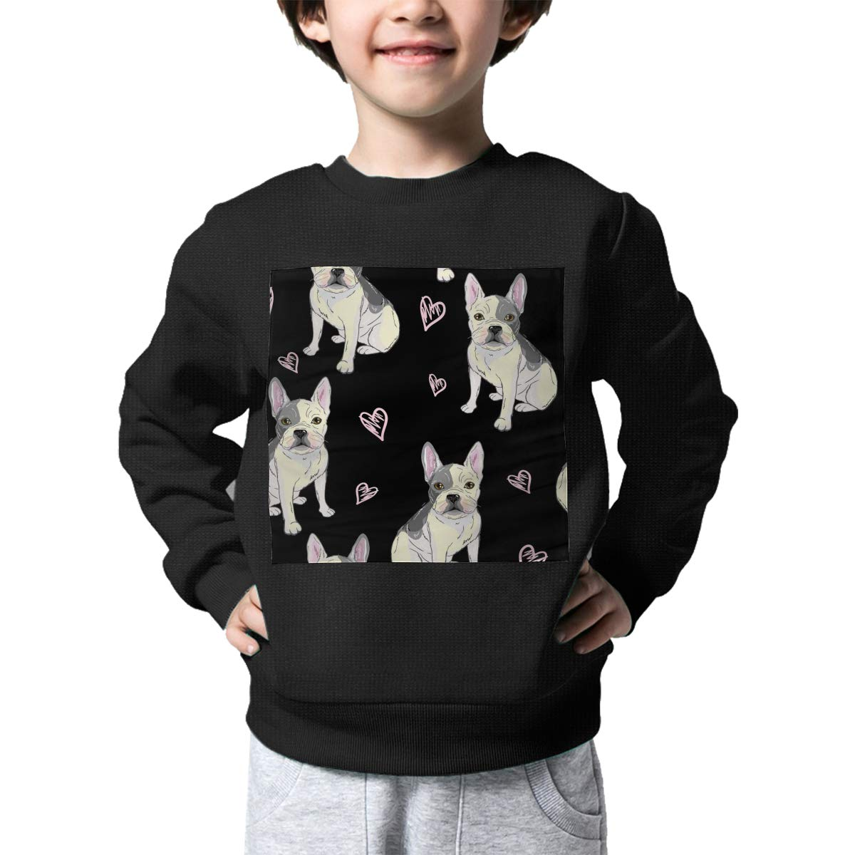 Warm/&Q90 French Bulldog Print Newborn Childrens Crew Neck Sweater Long Sleeve Soft Knit Top Blouse