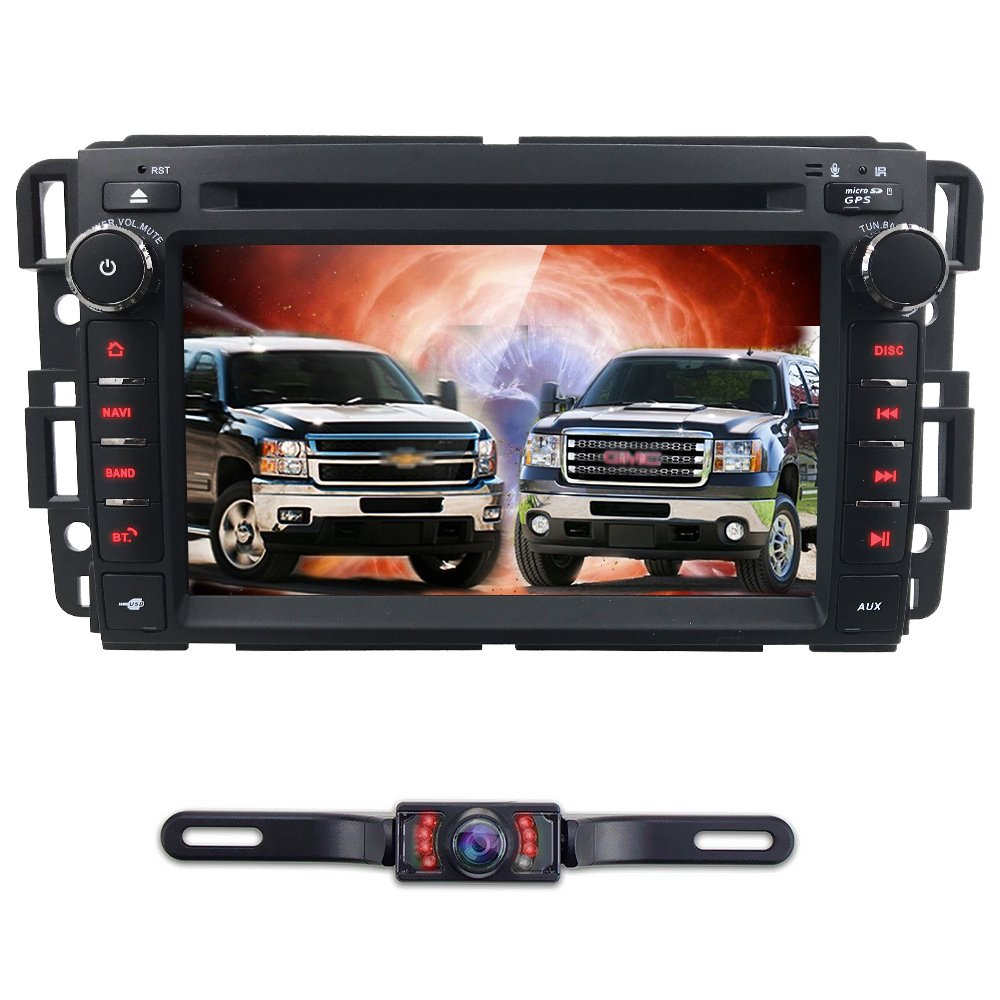 Android 7.1 Car Stereo DVD Player For GMC Chevy Silverado 1500 2012 GMC Sierra 2011 2010 7 inch Quad Core Double Din In Dash Touchscreen FM/AM Radio Receiver Navigation Bluetooth with Backup Camera by HIZPO