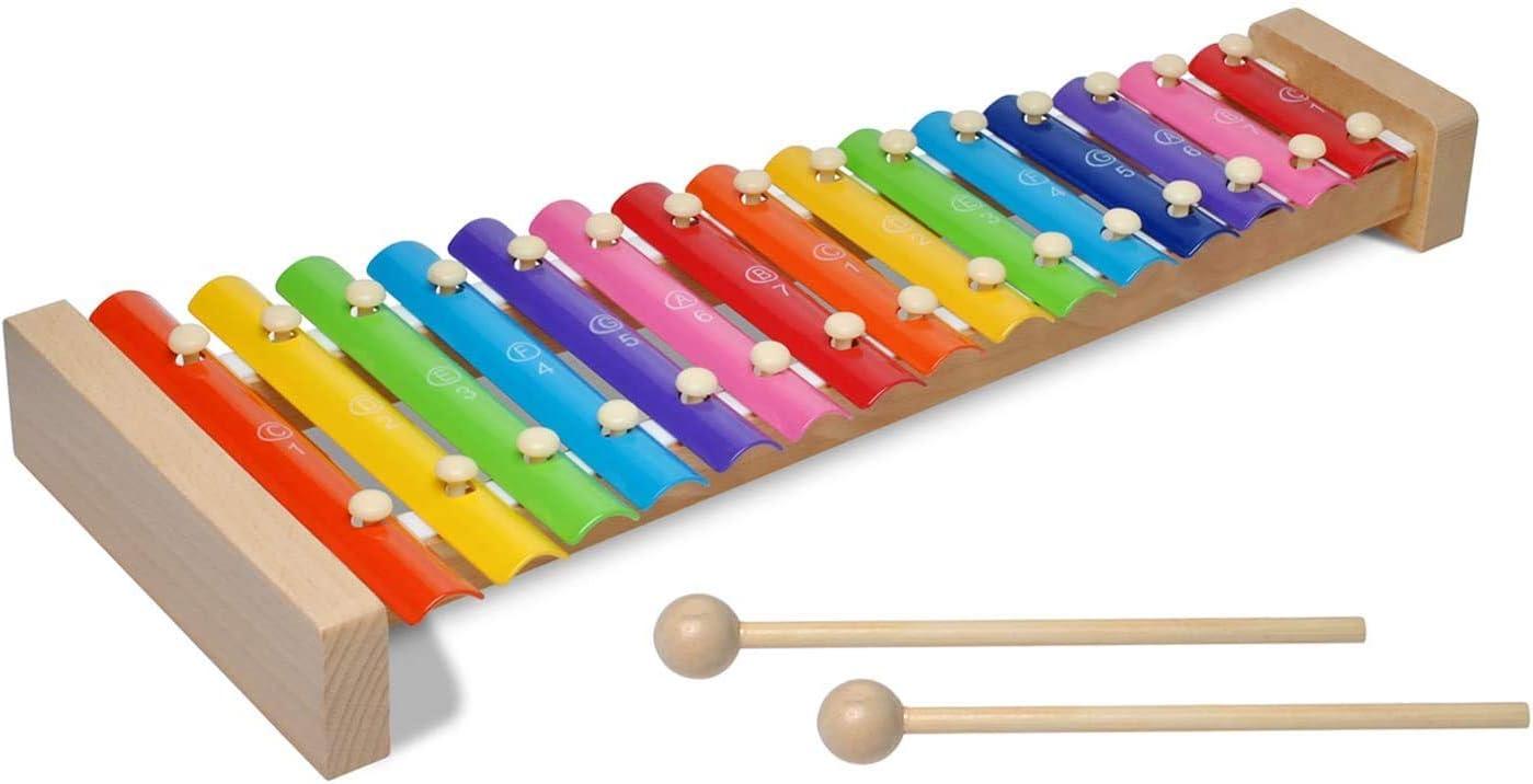 Poweka Xilófono Instrumento Musical para Niño 15 Tonos con 2 Mazos, Xilófono Glockenspiel de Madera Instrumento Musical Infantil, Juguete Musical de Percusión Educativo para Bebé Niños
