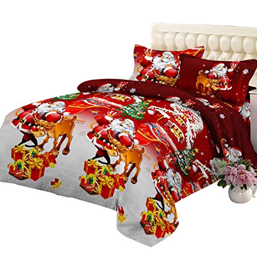 Junhome Christmas Bedding Duvet Cover Set Twin Size Happy Christmas Santa Quilt Cover Twin Red Bedding Set ()
