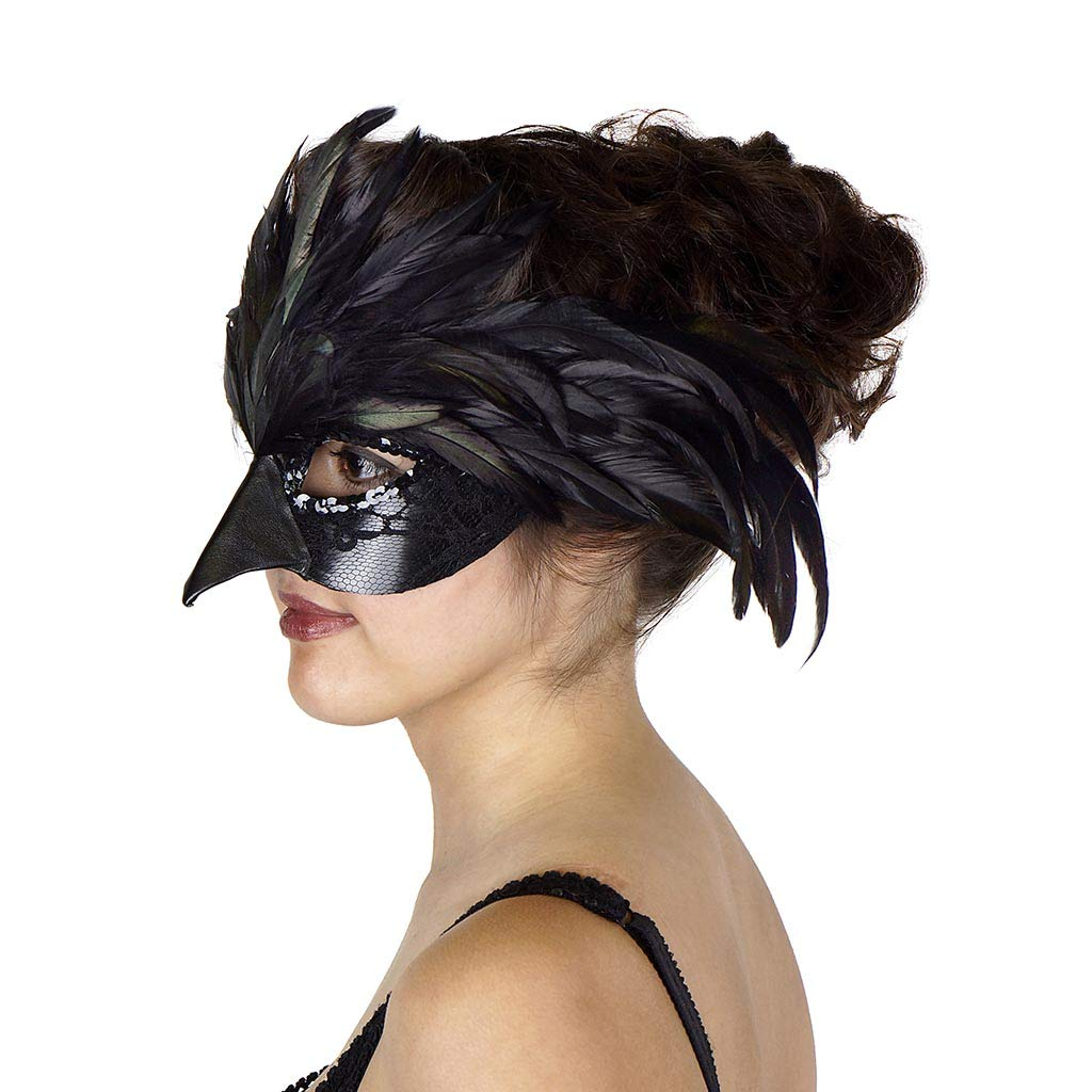Black Zucker Feather Products Raven Feather Mask