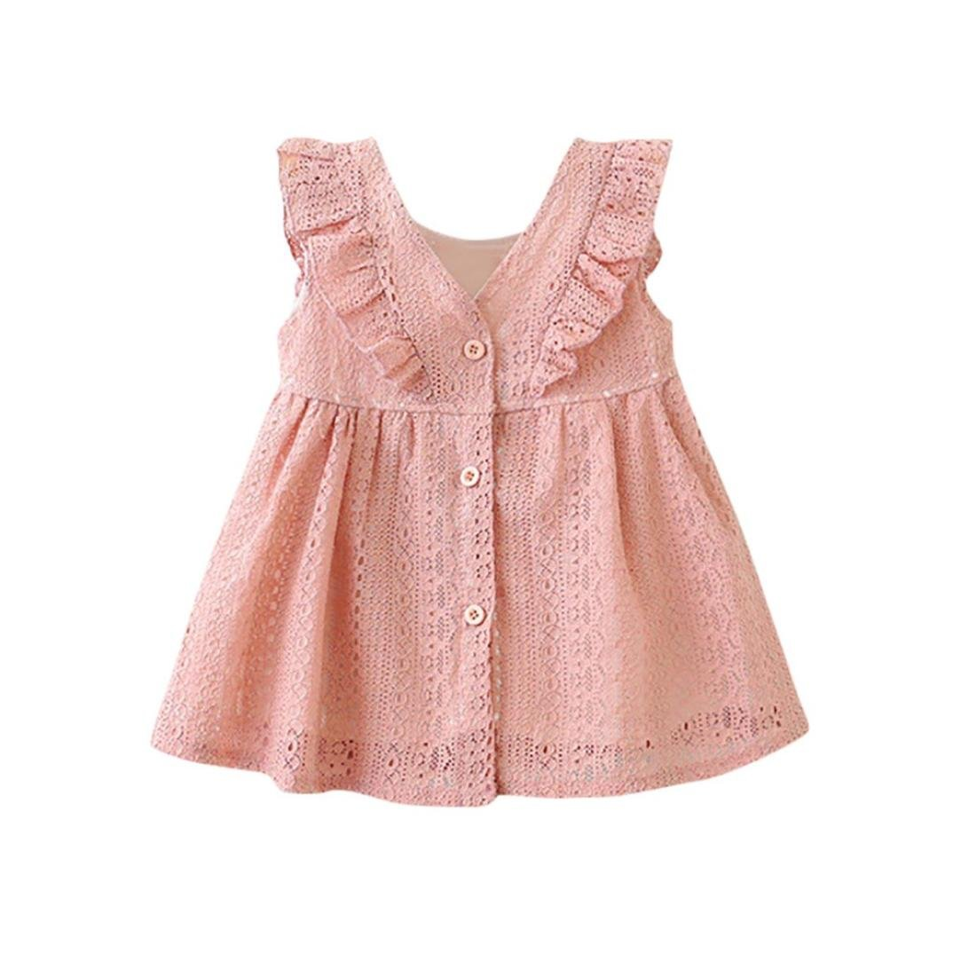 e567f16a6a Amazon.com: Goodlock Children Infant Kids Fashion Dress Girls Lace Ruffles  Princess Button Hollow Dress Clothes: Clothing