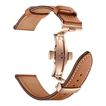 Amazon com: Watch Band 40mm/44mm, H+K+L Butterfly Buckle Leather