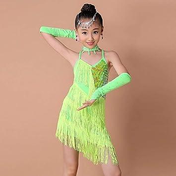 XG-BH Borla Latino Vestido De Baile Vestido Danza Latina Niña ...